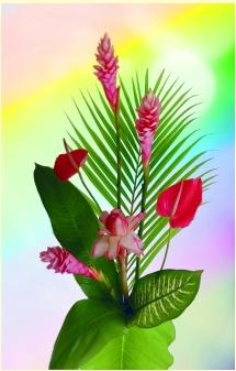 Bouquet de fleur tropicale & feuillage (10 tiges)