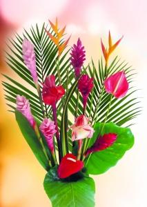 Bouquet de fleur tropicale & feuillage (17 tiges)