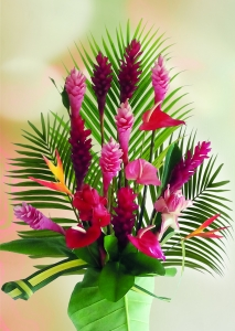 Bouquet de fleur tropical & feuillage (24 tiges)